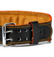 HAR284 Harbinger 4 inch Leather Weight Lifting Belt Front Close Up