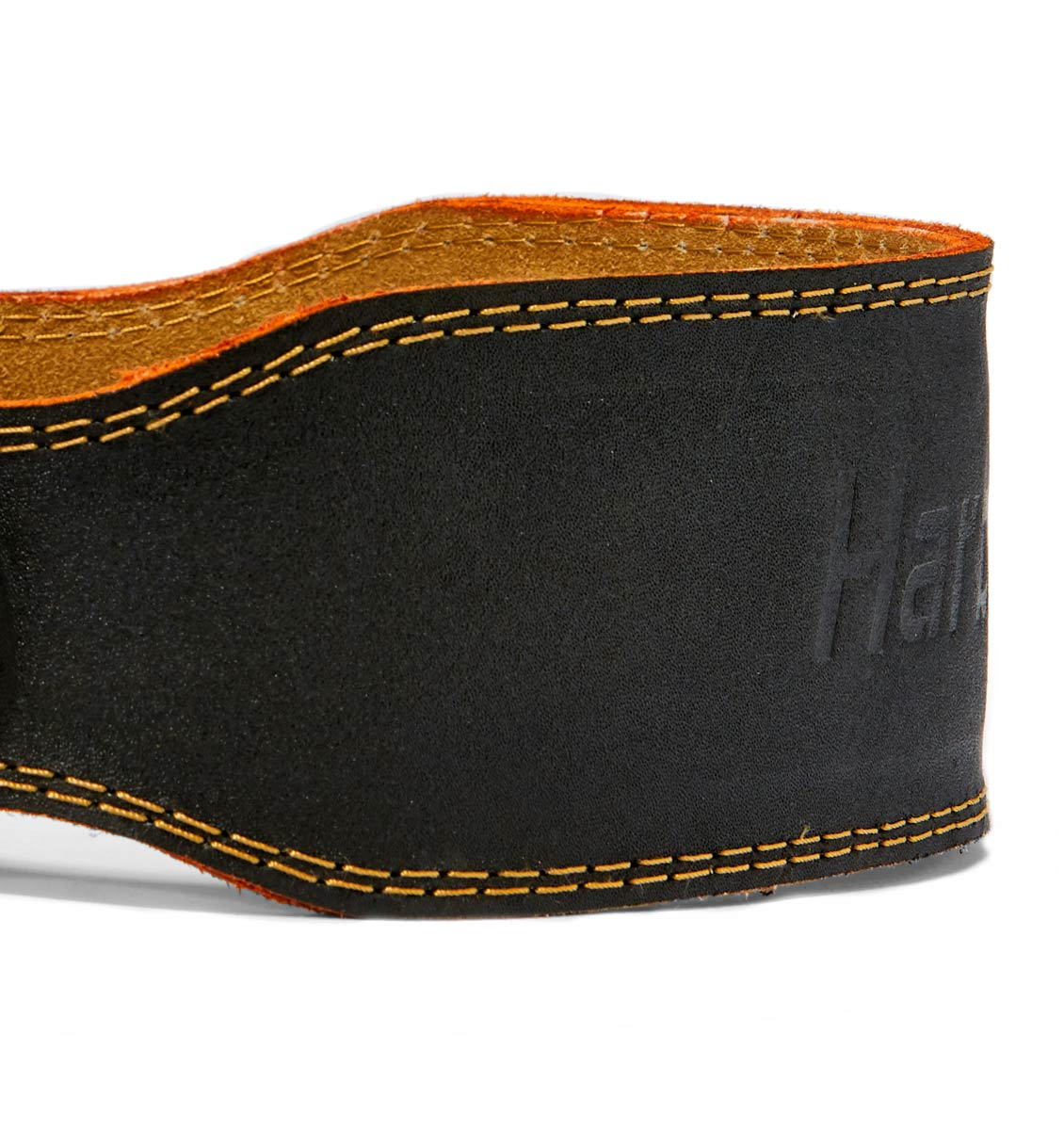 HAR284 Harbinger 4 inch Leather Weight Lifting Belt Side Close Up