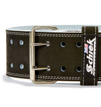 L6010 Schiek Competition Power Weight Lifting Belt Double Prong Front Close Up