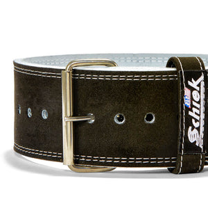 L6011 Schiek Competition Power Weight Lifting Belt Single Prong Front Close Up