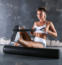 PTP Fascia Release Foam Roller - Large - 80cm (with Stretching Strap) - Action Shot - 1