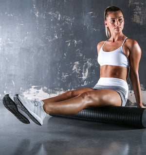 PTP Fascia Release Foam Roller - Large - 80cm (with Stretching Strap) - Action Shot - 2