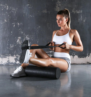 PTP Fascia Release Foam Roller - Mini - 45cm (with Stretching Strap) - Action Shot