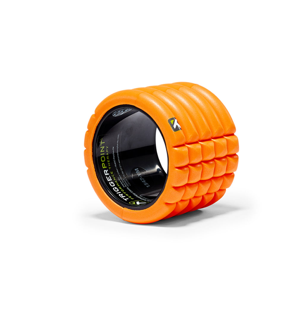 TPT3GRD0MINIORG TriggerPoint The Grid Mini Foam Roller Orange - 45 Degree Angle - Full Shot
