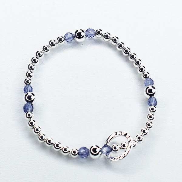 Ball Bracelet with Purple Beads