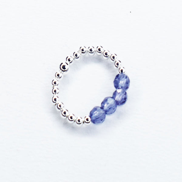 Silver Ball Ring with Purple Beads