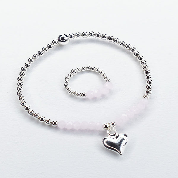 Silver Plated Ball Bracelet with Pink Beads and Heart Charm