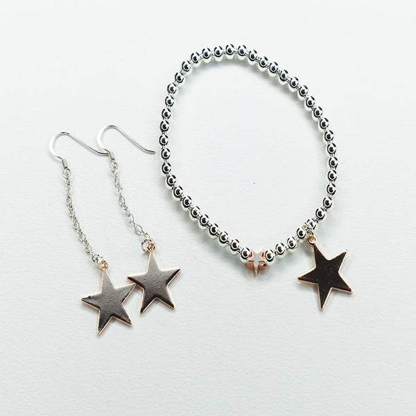 Silver Plated Ball Bracelet with Rose Gold Star Charm