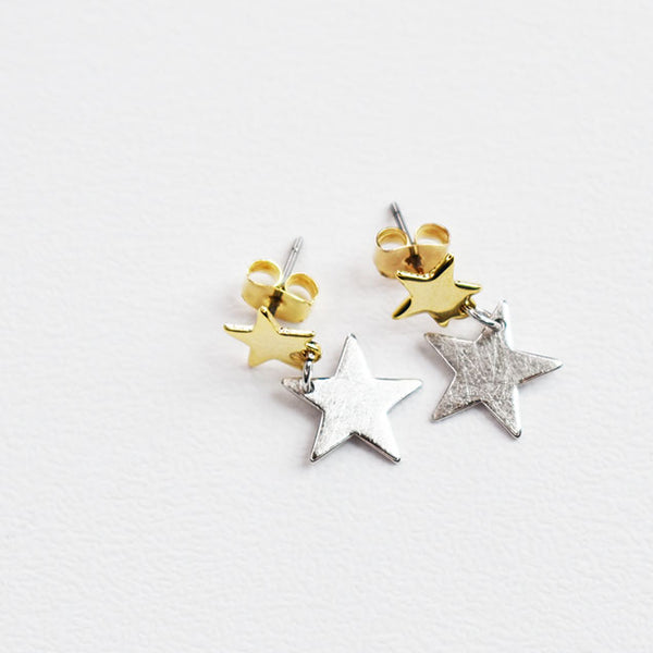 Gold and Silver Star Earrings
