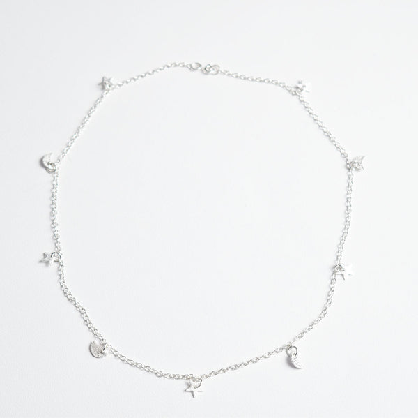 Moon and Stars Silver Necklace