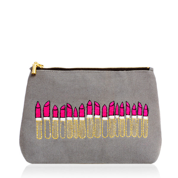 Red Lipstick Twilight Grey Make Up Bag