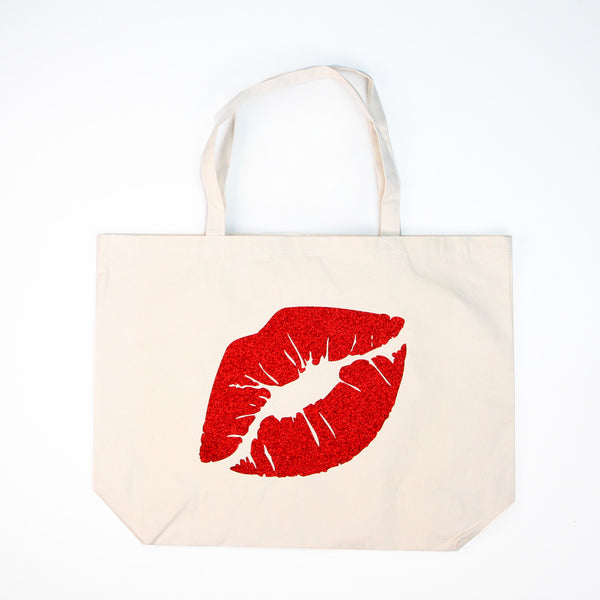 Red Lips Glitter Tote Bag