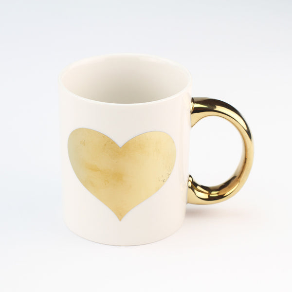 Metallic Monochrome Gold Heart Mug