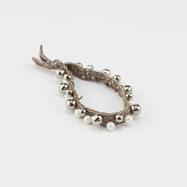 Jewel Pearl Stud Hair Tie - Gold
