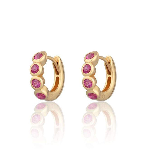 Huggie Hoop Earrings with Ruby Pink Stones