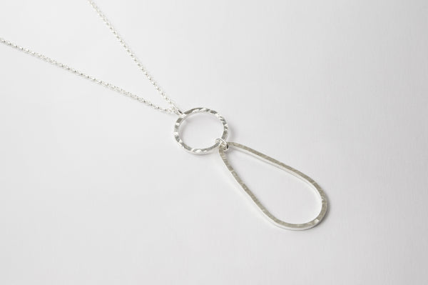 Long Chain Hammered Pendent