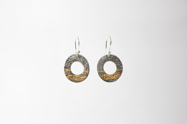 Oxidised gold stripe drop earrings