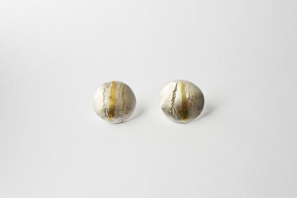 Small silver textured gold stripe studs
