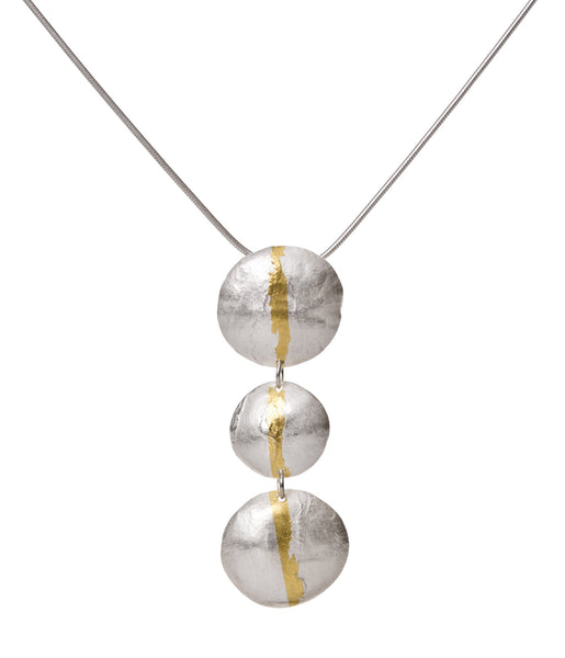 Three circle, gold stripe, drop pendant.
