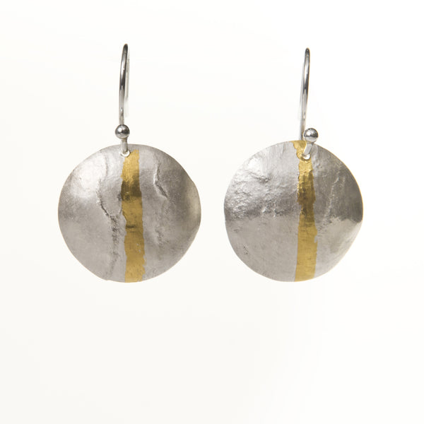 Gold stripe textured drop earrings
