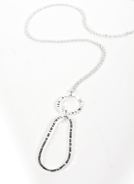 long drop textured silver pendant, available in silver or oxidised silver