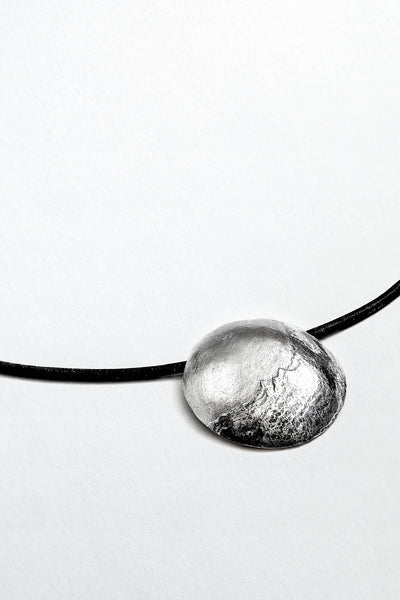 Mountain fine silver choker on a black leather necklet