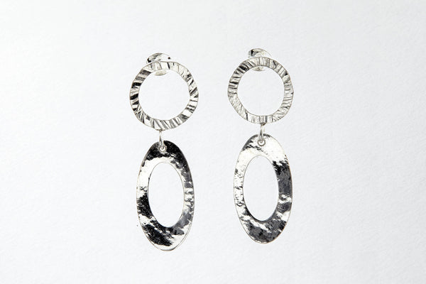 Mixed textured, drop earrings, delicate with movement.