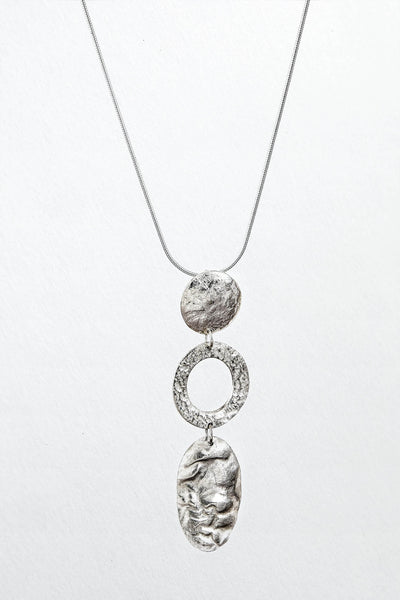 Three textured drop pendant in fine silver