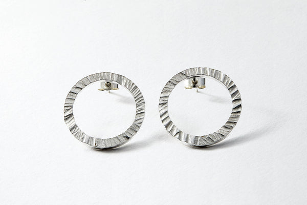 Hammered sterling silver studs