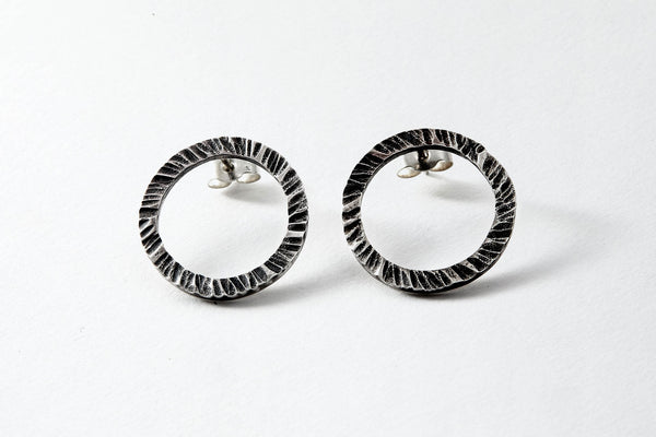 oxidised hammered sterling silver studs