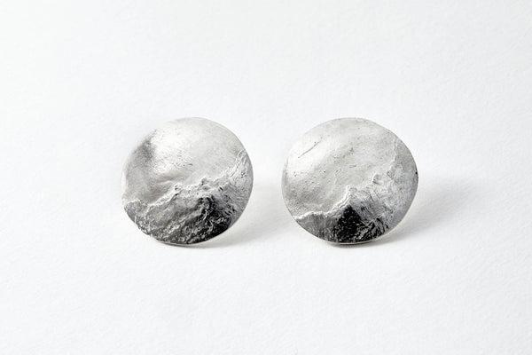 Mountain textured, polished and matte fine silver stud earrings