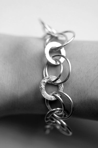 Handmade silver decorative, unique chain bracelet