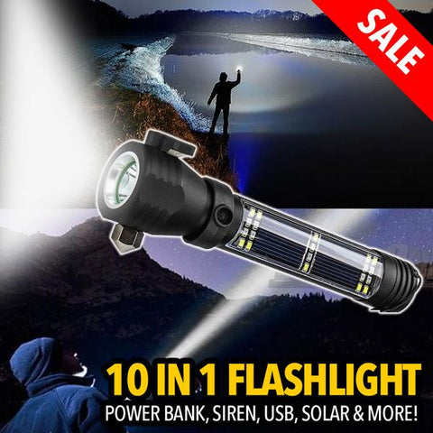 All in 1 Solar Power Tactical Flashlight