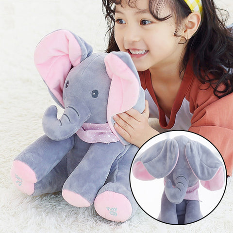 Peek-a-boo Interactive Elephant Plush Dolls - Indigo-Temple