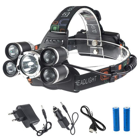 """BIG-BOB"" 5 LED'S 12500LM HEADLAMP - Indigo-Temple"