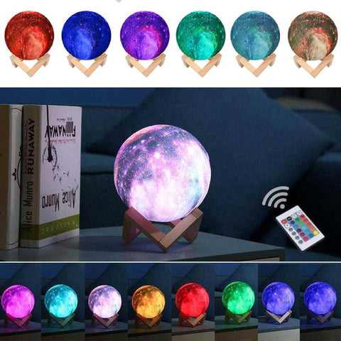 GalaxyLamp™- 3D Printed 16 Colors Moon Lamp With Remote Control - Indigo-Temple