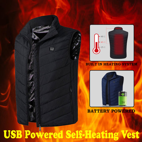 USB Powered Self-Heating Vest - Indigo-Temple
