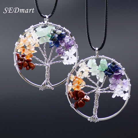 Rainbow 7 Chakra Amethyst Tree Of Life Quartz Pendant