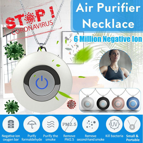 Rechargeable Personal Wearable Ionizer Air Purifier Necklace