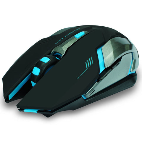 Wireless Rechargeable 6 Buttons LED Backlit  Mouse - Indigo-Temple