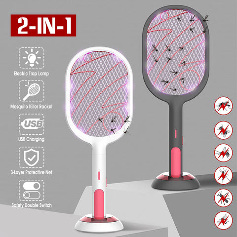 2 in 1 Electric Bug Zapper Racket & Intelligent Mosquito-Trap Station