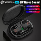9D Surround Ultra Lightweight  Waterproof Bluetooth 5.0 Sporty Earphones with Charging Case