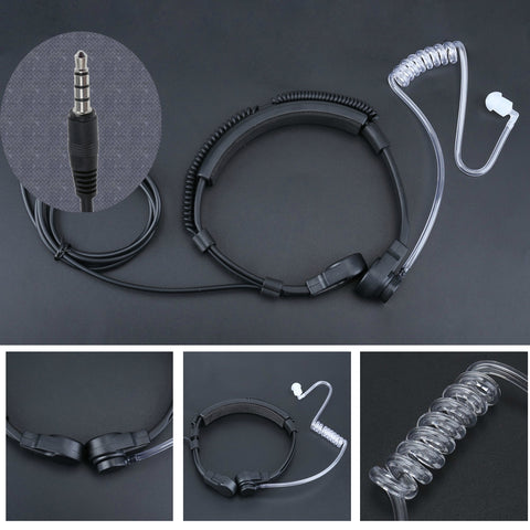 3.5mm jack Tactical Smart Phone Throat Mic - Indigo-Temple