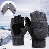 2 in1 Smart  Fingerless Gloves With Attached Mittens