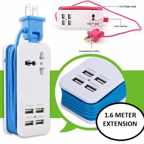 2-IN-1 Travel Adapter - 4 USB Hub & Extension Cord