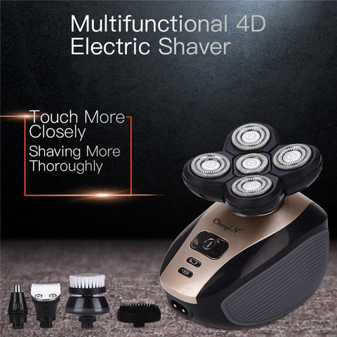 PerfectShave™ 5 in 1 Head & Face Rechargeable 4D Electric Shaver - Indigo-Temple