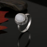 RrrATA Silver Plated Natural Stone Opal Ring