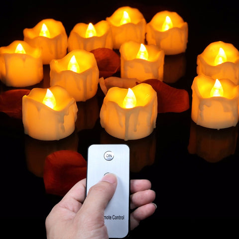 Remote Tea light Candles 12 Pieces Set