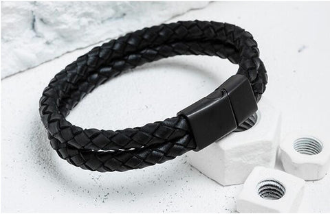 TOR- Double Layer Braided Genuine Leather Bracelet