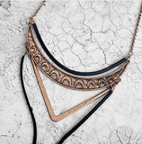Boho Black Leather Alloy Choker Necklace